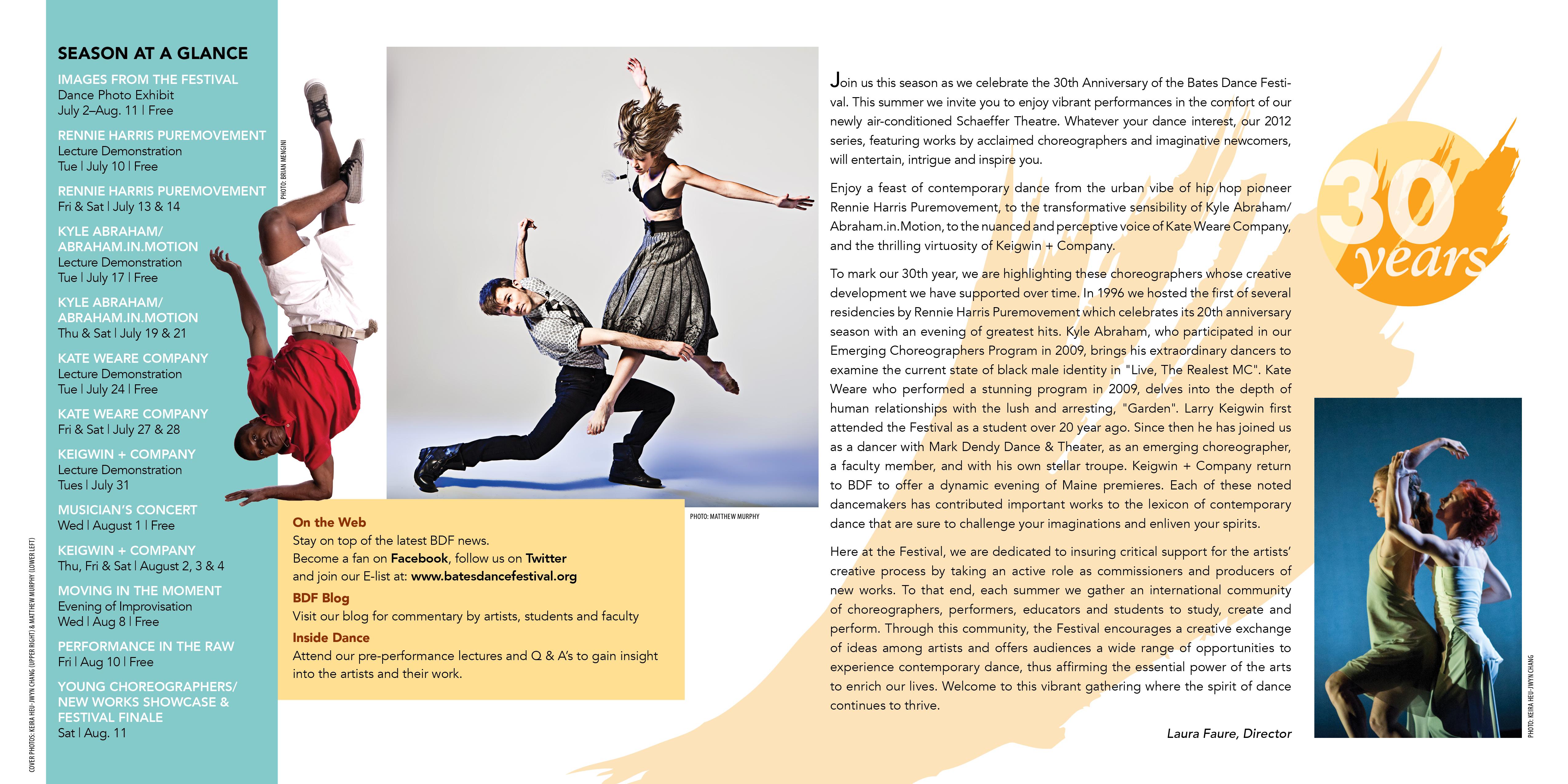 Opening spread for BATES DANCE FESTIVAL CATALOG