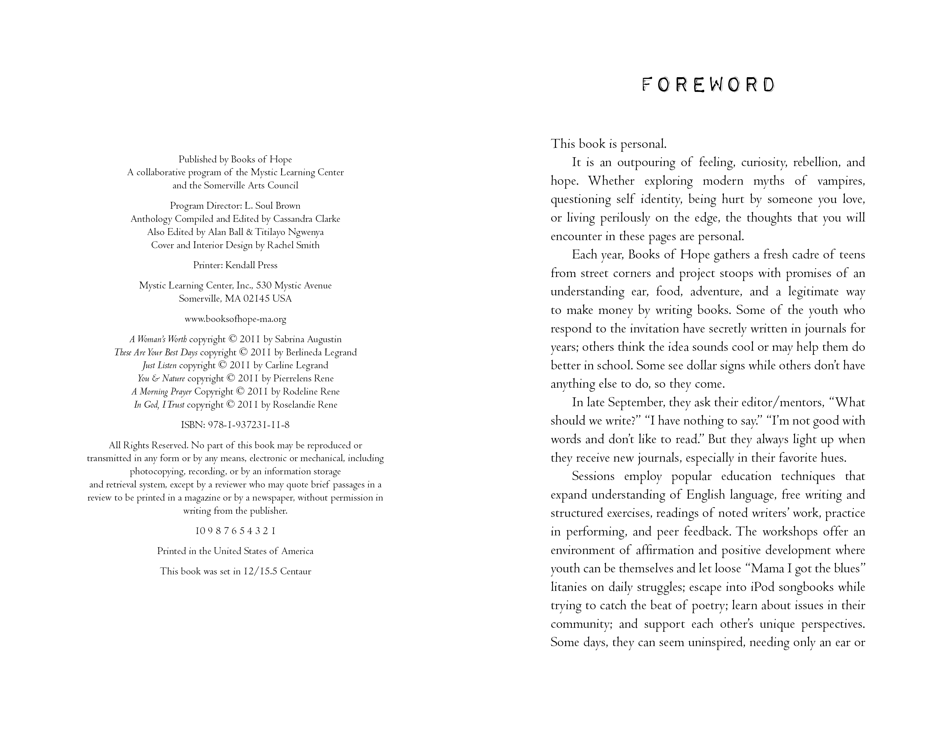Foreword for BOOKS OF HOPE 2011 editions