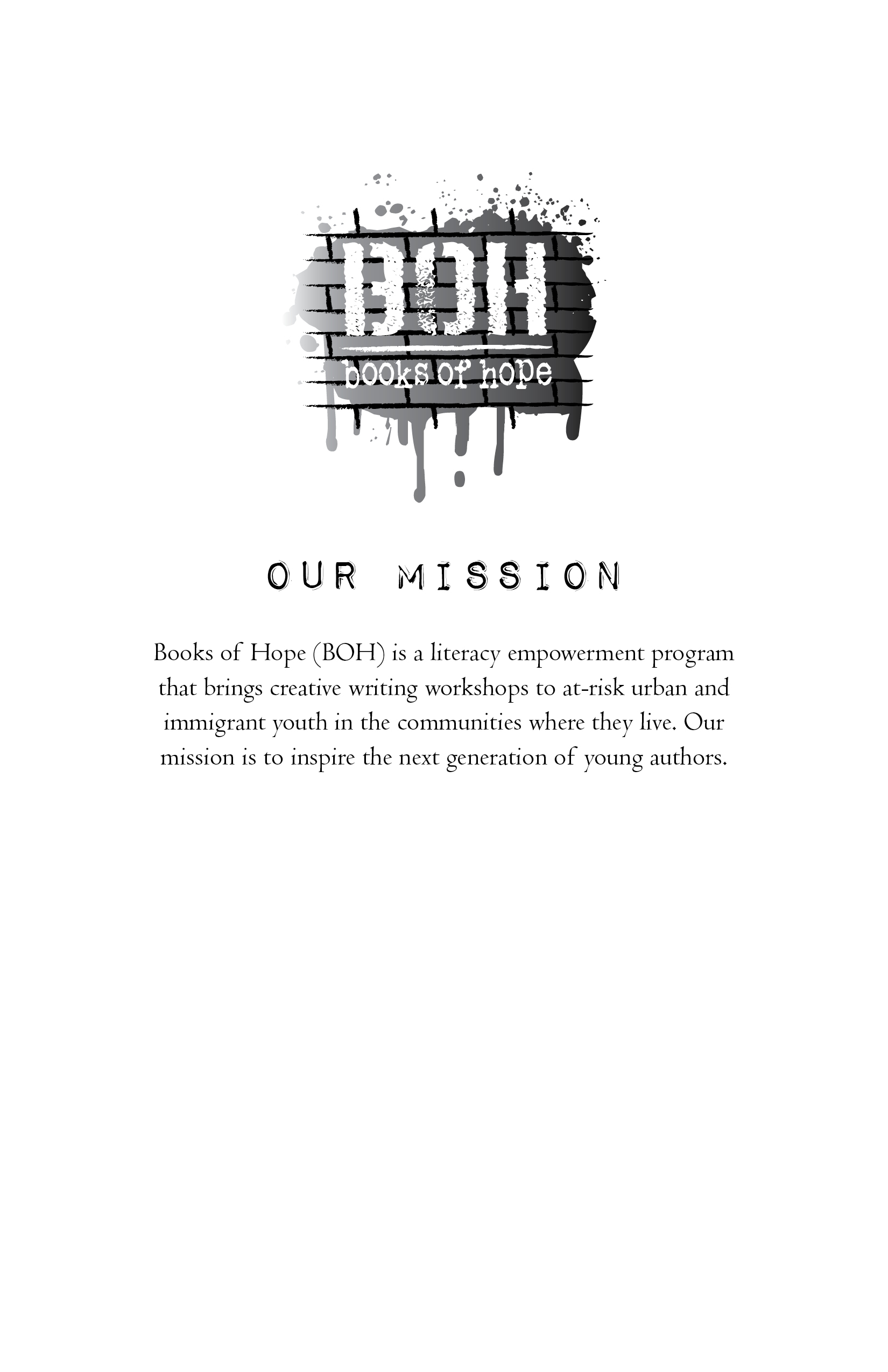 Mission statement for BOOKS OF HOPE