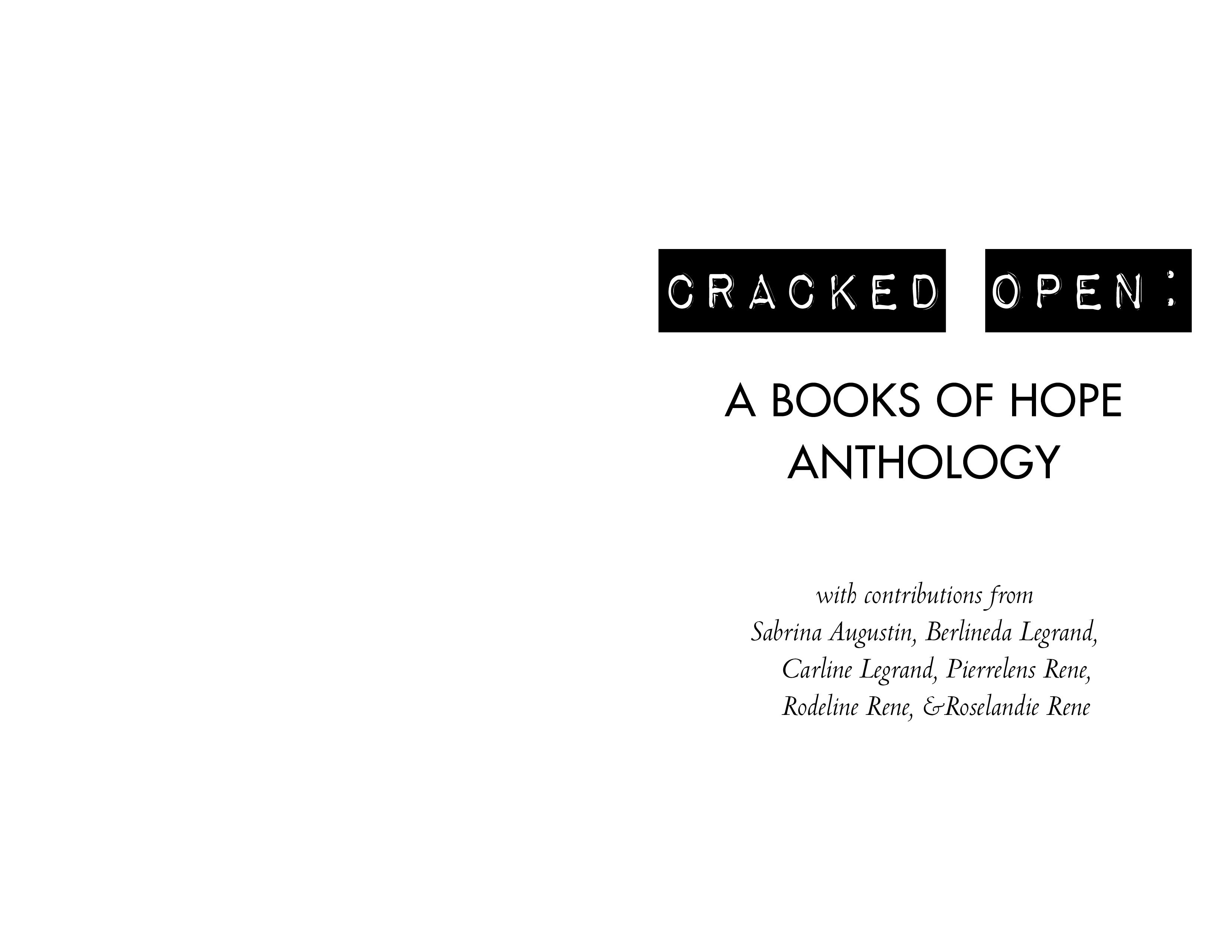 Title page for CRACKED OPEN