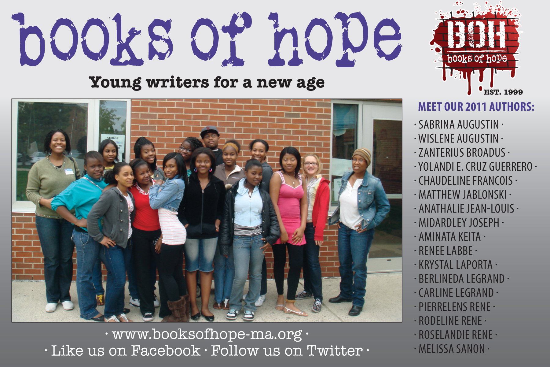 Front of promotional postcard for BOOKS OF HOPE 2011