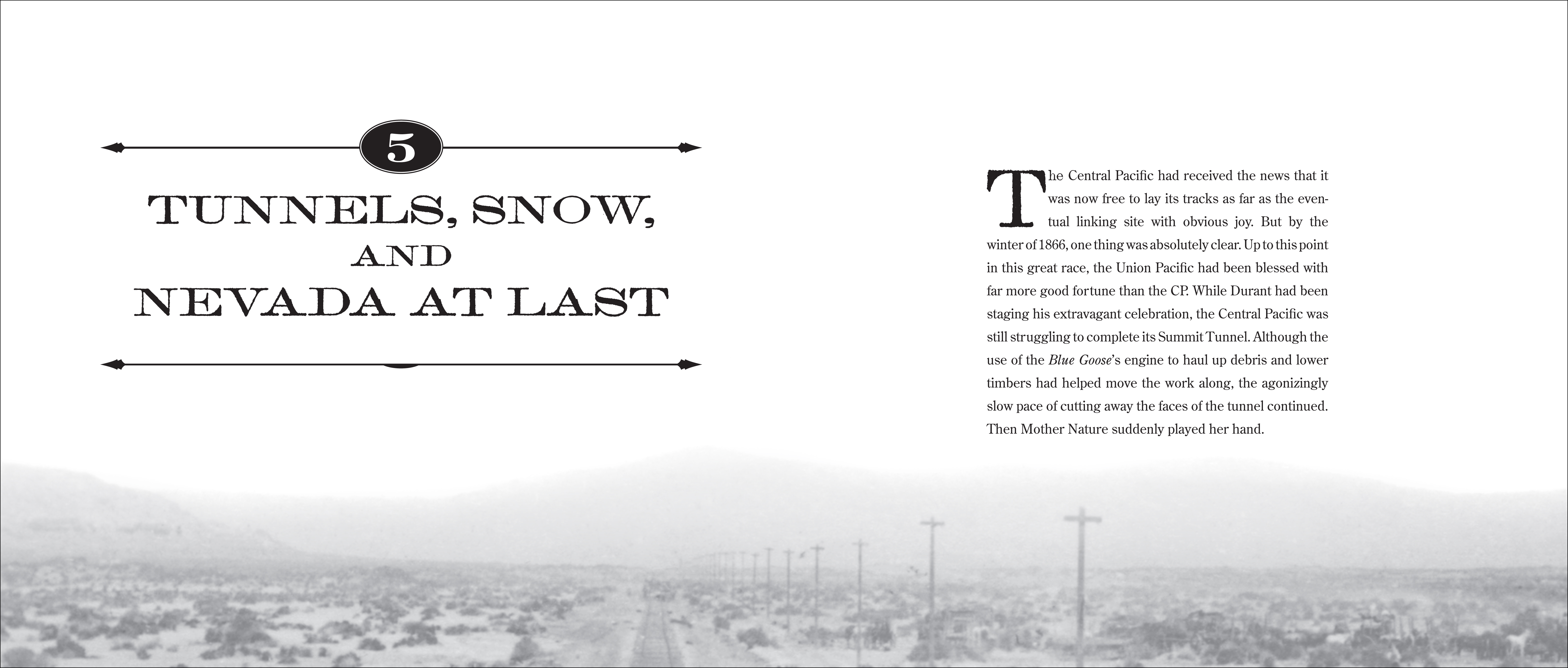 Chapter opener spread for IRON RAILS, IRON MEN, AND THE RACE TO LINK THE NATION