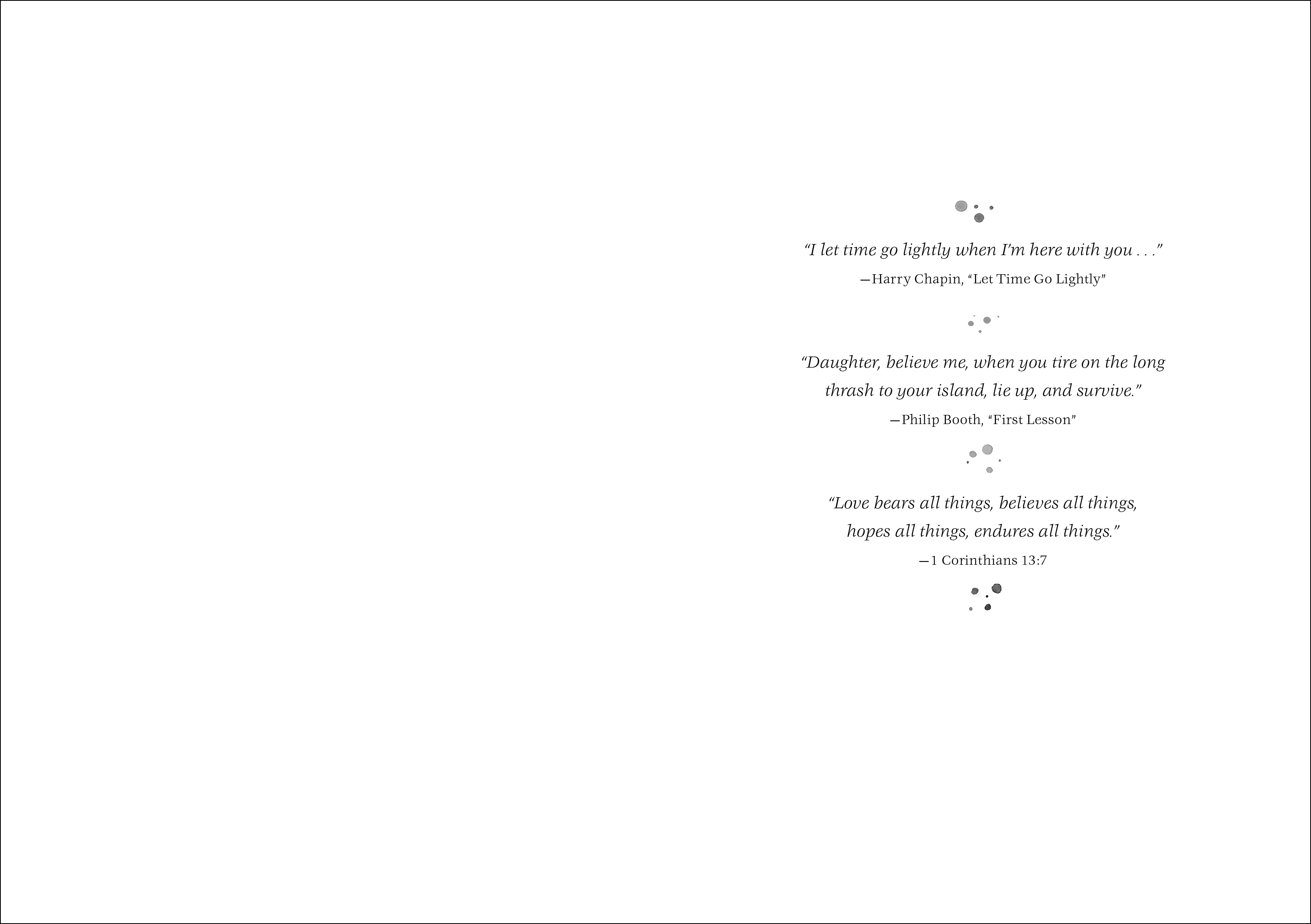 Epigraph spread for MATYLDA, BRIGHT AND TENDER