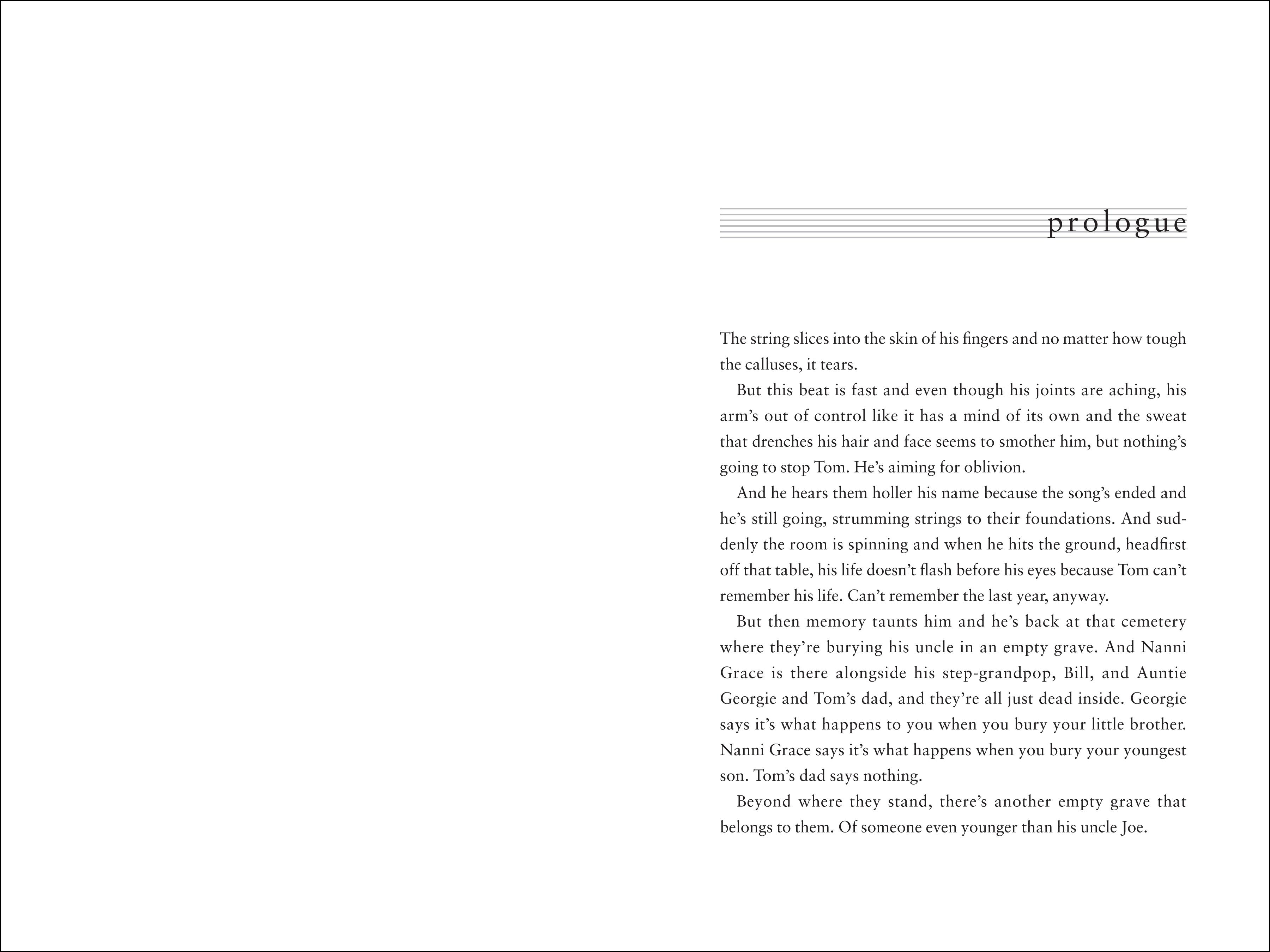 Prologue spread for THE PIPER'S SON