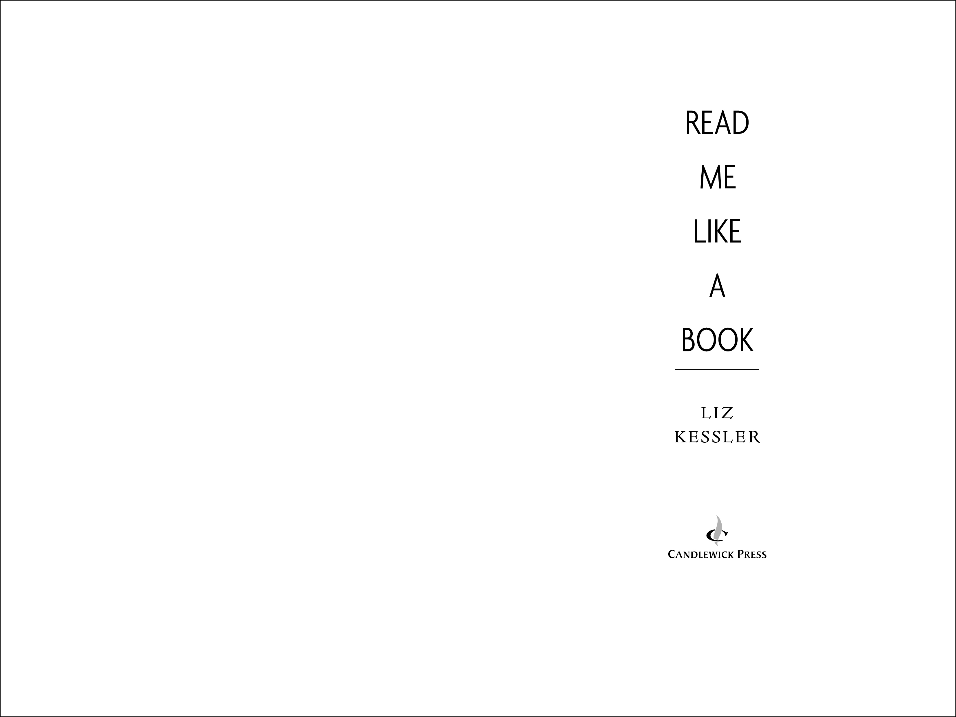 Title spread for READ ME LIKE A BOOK