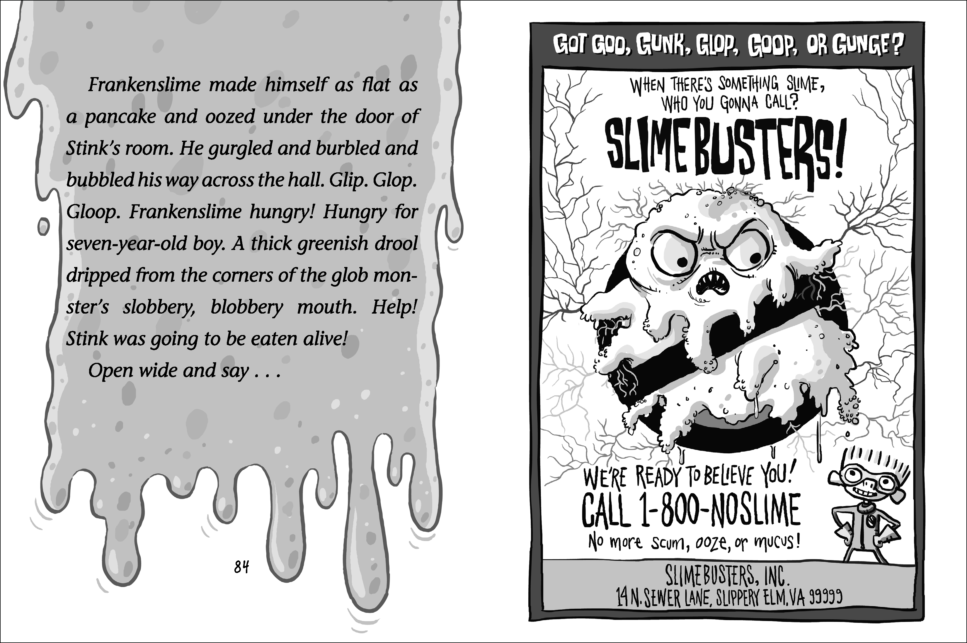 Interior spread for STINK AND THE ATTACK OF THE SLIME MOLD