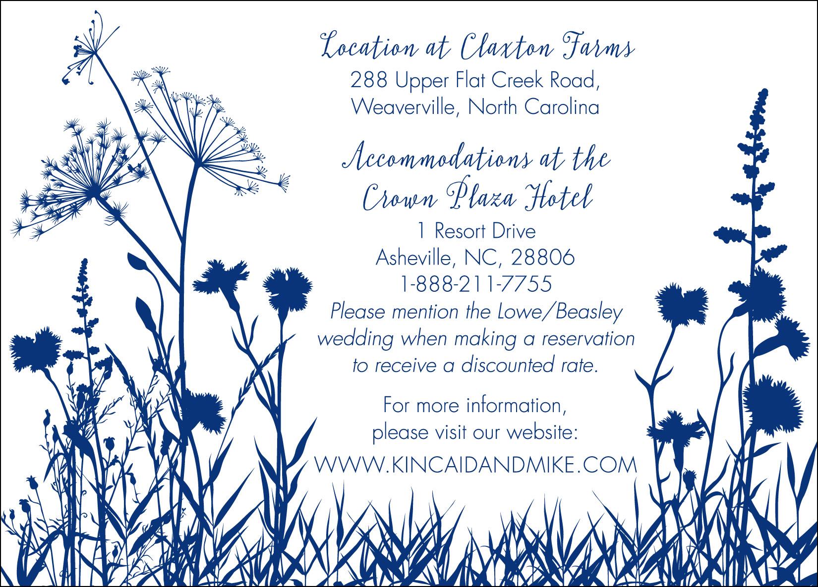 Lowe-Beasley Wedding, Info Card
