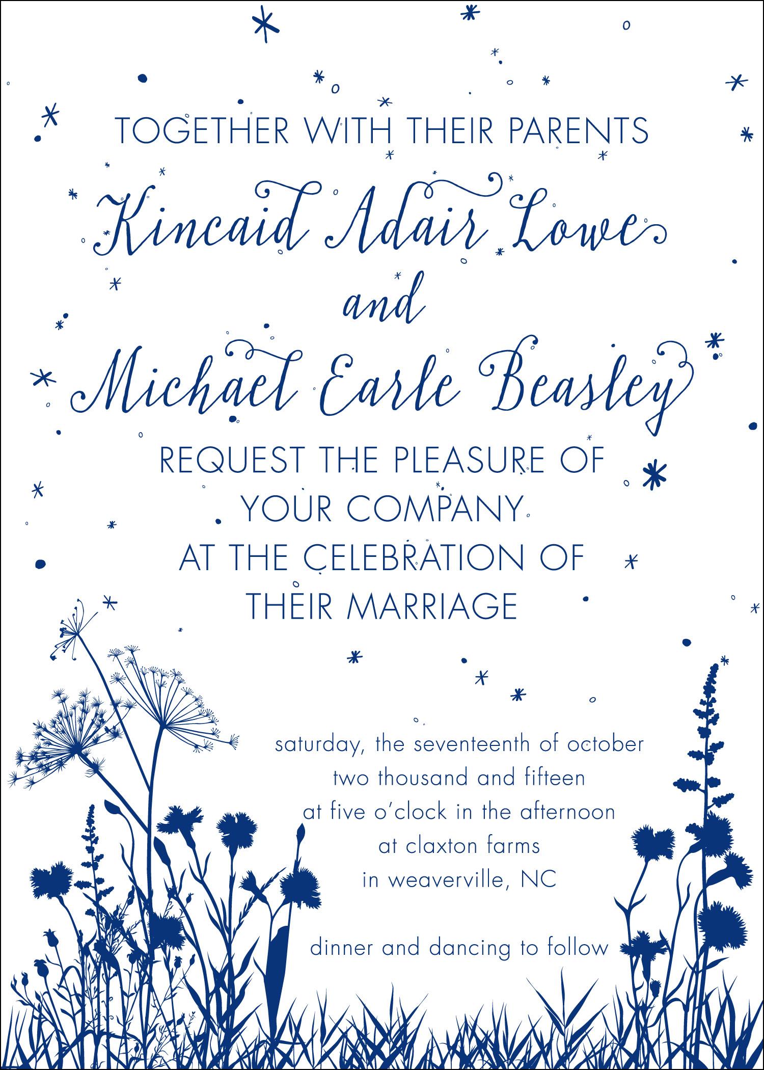 Lowe-Beasley Wedding, Invitation