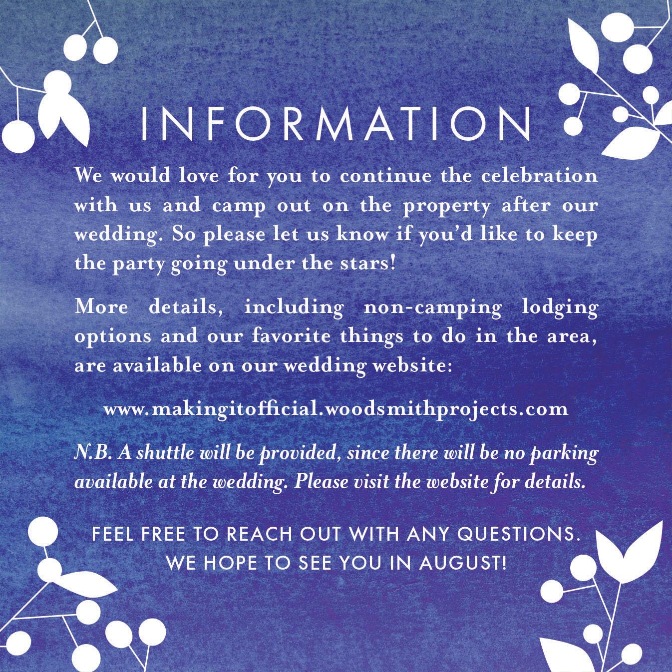 Smith-Wood Wedding, Info Card