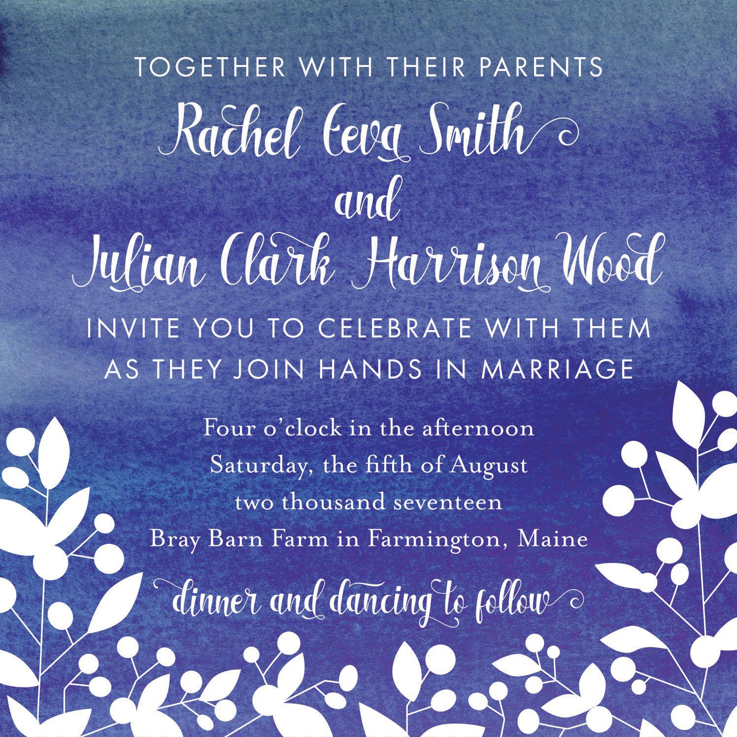 Smith-Wood Wedding, Invitation Center