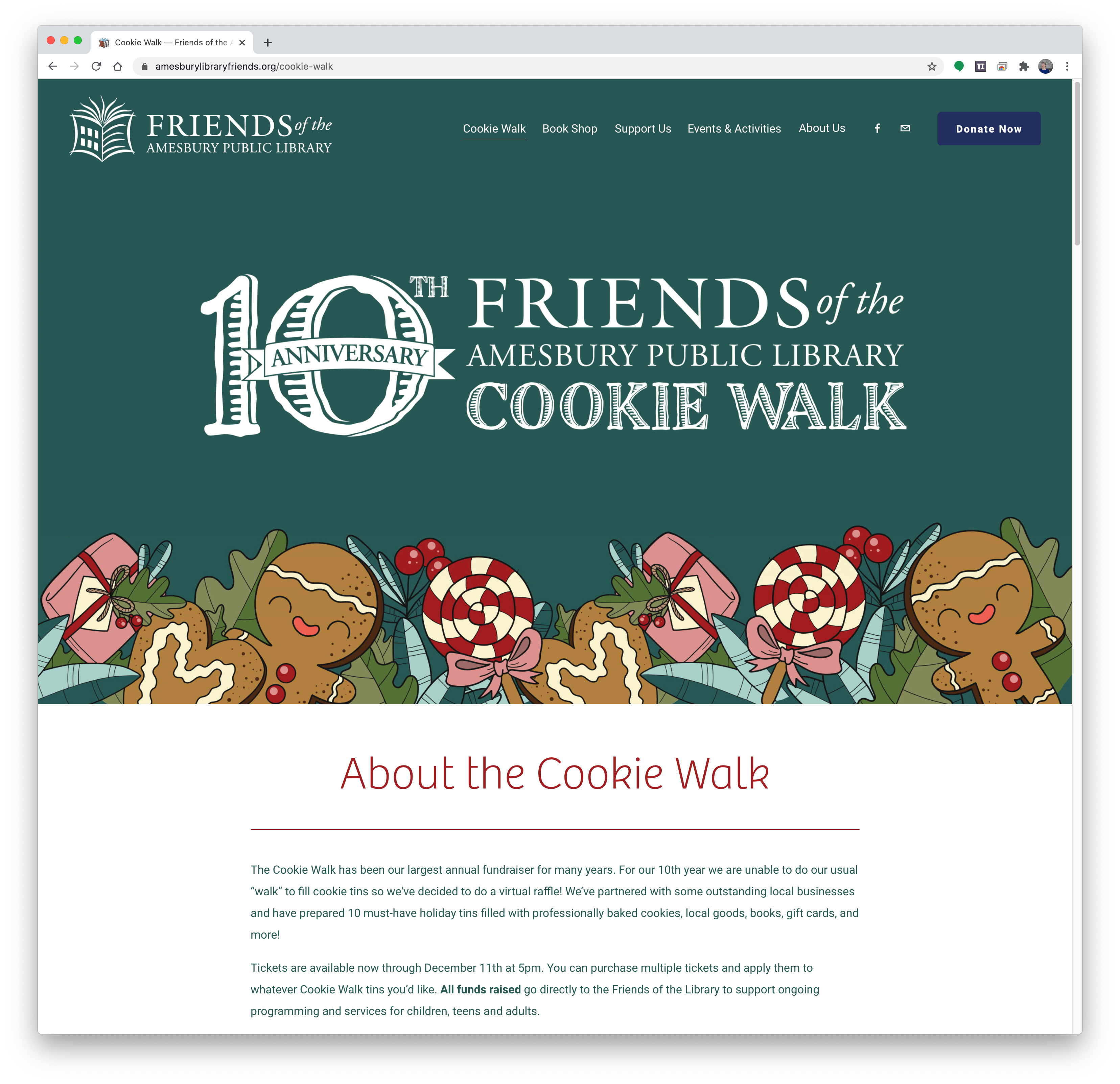 Cookie Walk fundraising page for FRIENDS OF THE AMESBURY PUBLIC LIBRARY WEBSITE