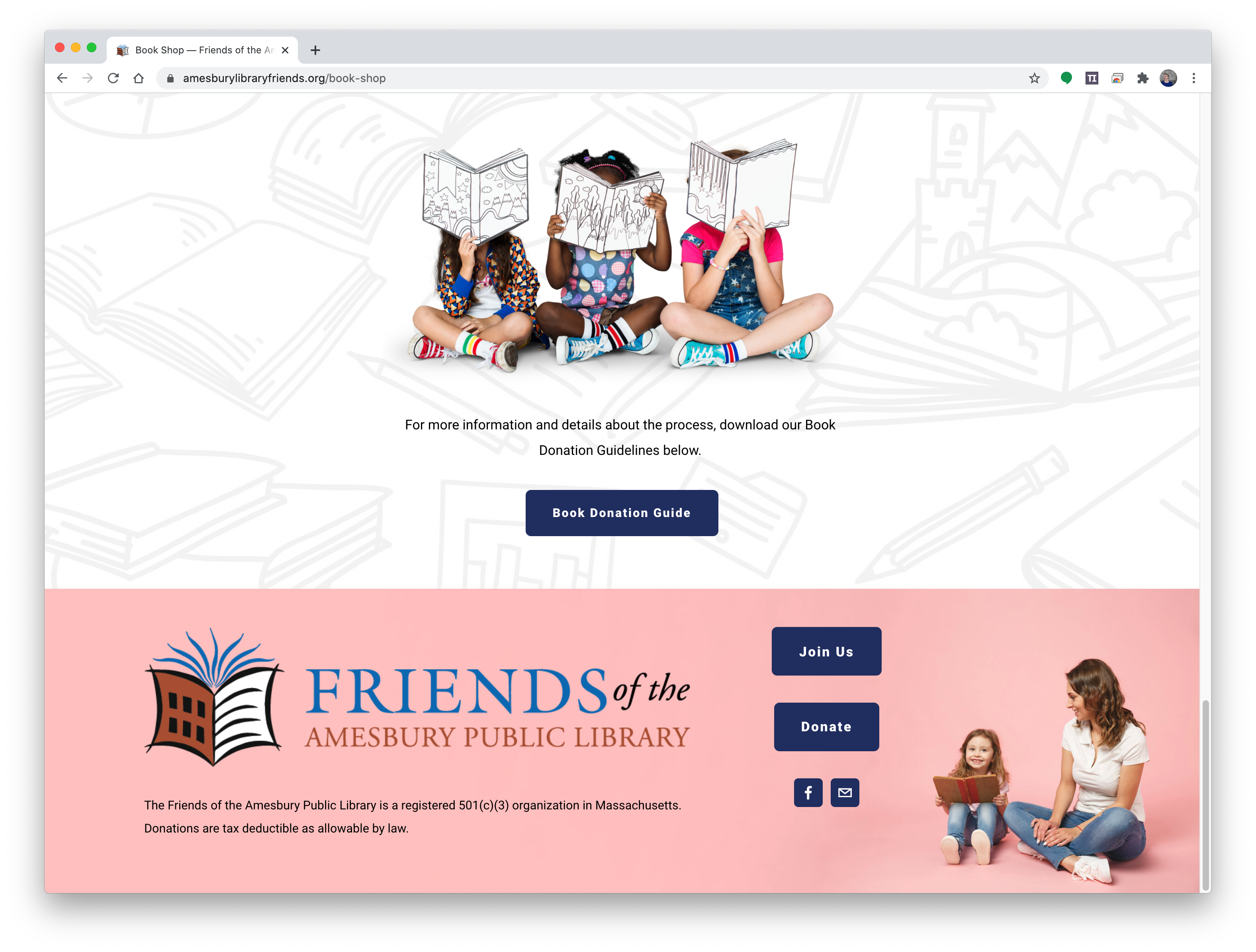 Footer for FRIENDS OF THE AMESBURY PUBLIC LIBRARY WEBSITE